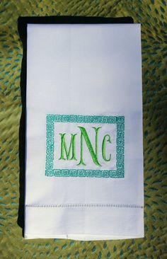 Greek Key Monogrammed Linen Guest Towel