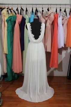 V-neck Lace Chiffon Wedding Dress With Slit, Backless Elegant Ivory Custom Made Bridal Wedding Dress, Beading Wedding Dress