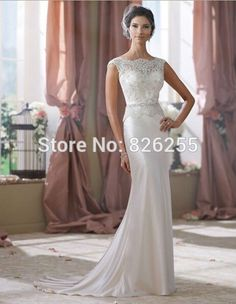 Love Story 2015 Fashion  Elegant Appliques Beaded Sheath Wedding Dresses/Bridal Gowns NW0156 Free Shipping Custom Color/Size-in Wedding Dresses from Weddings & Events on Aliexpress.com | Alibaba Group