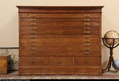 Oak 1900 Antique 13 Drawer Map Chest, Drawing Or Document File Cabinet