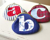 Monogrammed Coin Purse: Personalized Purse- Handmade Applique Initial Coin Purse - Birthday Present - Christmas Gift for Her. $30.00, via Etsy.