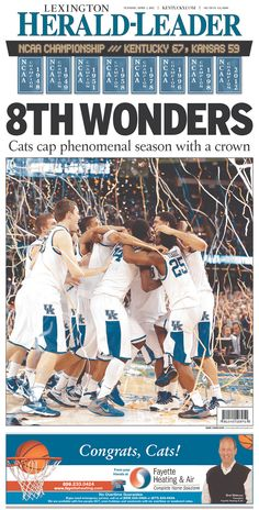 Love the Lexington Herald-Leader's front for Kentucky, but the ad down below diminishes it a little