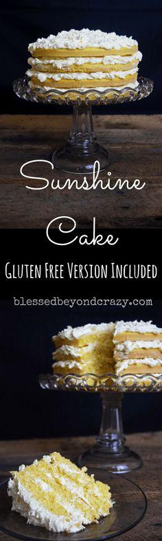 Sunshine Cake -- Gluten Free version included -- #blessedbeyondcrazy #cake #glutenfree