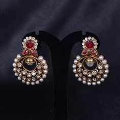 Earings Chand Bali with Pearl,Maroon and CZ stones - WJ0127 Bridal Jewellery  Ear Rings