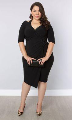 Plus Size Cut Out Shoulder Black Wrap Dress Plus Size Foxfire Faux Wrap Dress - Black Noir Shop www.curvaliciousclothes.com