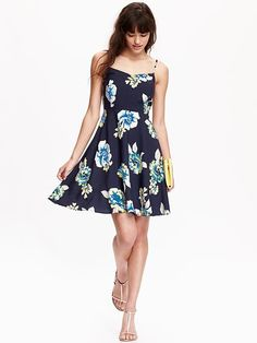 Navy Floral Poplin Fit and Flare dress | Old Navy