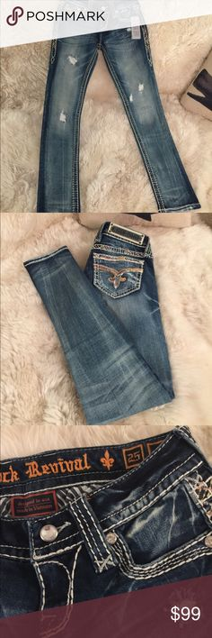 Rock revival jeans NWT awesome rock revival denim. Skinny fit. Sz 25x31 Rock Revival Jeans Skinny