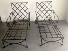 Pair of Mid-Century Hand Wrought Iron Chaises 1