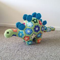 Free Knitted Crochet African Flower Pattern Dragon : Hand-Knitted Crochet African Flower Unicorn Pattern ...