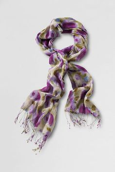 Lands' End Cotton Voile Floral Scarf | 100% Lightweight Comfortable Cotton. Mother's Day Gift Idea.