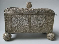 17th Century South German - Schwabisch Gmund or Augsburg, Silver Filigree Casket. L. 15.2 cms W. 7.7 cms. British Museum.