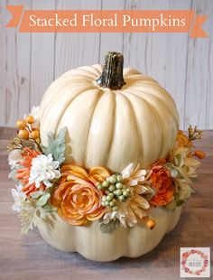 A Glimpse Inside: Stacked Floral Pumpkins Autumn Decorating, Pumpkin Decorating, Pumpkin Wedding, Wedding Pumpkins, Fall Wedding, Pumpkin Centerpieces, Autumn Crafts, Pumpkin Crafts, Deco Table