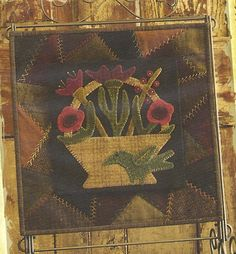 Primitive Folk Art Wool Applique Table Mat Pattern: MAY - Wool Crazy Mat - - - BASE MAT pattern is sold separate----50 percent off.. $6.00, via Etsy.