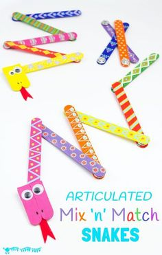 SNAKE CRAFT: This Mix 'N Match Articulated Snake Craft is such fun and twists, turns and slithers like a real one! With bright and colourful interchangeable body parts kids can make a unique snake toy every time they play! #snakecrafts #snakes #popsiclestickcrafts #craftsticks #popsiclesticks #kidscrafts #kidscraft #kidcrafts #kidcraft #kidscrafts101 #craftideas #craftsforkids #funforkids #preschool #preK #kidscraftroom #craftykids #kidsactivities #homemadetoys Popsicle Stick Crafts, Popsicle Sticks, Craft Stick Crafts, Craft Projects, Crafts For Kids, Preschool Crafts, Craft Activities, Craft Ideas, Hero Crafts