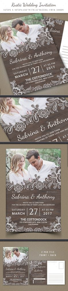 Rustic Wedding Invitation - #Weddings #Cards & #Invites Download here: https://graphicriver.net/item/rustic-wedding-invitation/19496073?ref=alena994