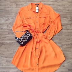 Host Pick Ralph Lauren Dress Bright orange shirt dress. Never worn. Ralph Lauren Dresses