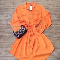 Host Pick Ralph Lauren Dress Bright orange shirt dress. Never worn. Ralph Lauren Dresses