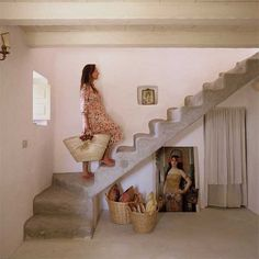 A lovely rustic house on Formentera, in Spain. - The Style Files (Images by Jordi Canosa / styling by Daniela Cavestany) Home Stairs Design, House Design Photos, Escalier Art, Wood Floor Kitchen, Tadelakt, Interiors Magazine, House Stairs, Küchen Design, Design Room