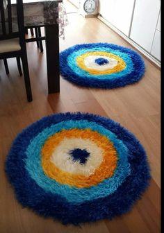 Sakallı ipten nazar boncuğu paspas #crochet #örgü #knit #knitting