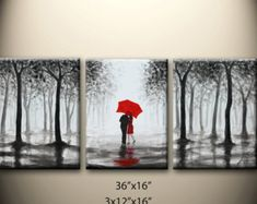 original abstract painting, kissing in rain, black white red,love couple,36x16 inch,great wedding gift