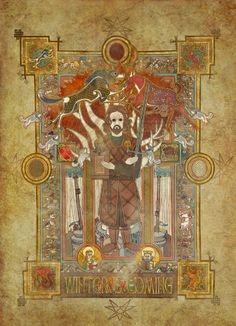 Game of Thrones fan art, based on the Book of Kells. Game Of Thrones Weapons, Arte Game Of Thrones, Game Of Thrones Poster, Game Of Thrones Houses, Eddard Stark, Ned Stark, Game Of Thrones Collectibles, The Mother Of Dragons, Book Of Kells