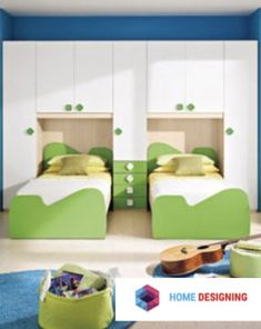 Children's Bed rooms designed with parents in mind. Various options showing images of childrens furniture like bunk beds, twin beds, are covered Childrens Beds, Childrens Room Decor, Green Furniture, Bedroom Furniture, Beautiful Children, Kids Bedroom, Toddler Bed, House Design, Playrooms