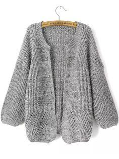 Buy Grey Long Sleeve Rivet Knit Cardigan from abaday.com, FREE shipping Worldwide - Fashion Clothing, Latest Street Fashion At Abaday.com