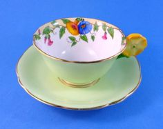 Flower-Handle-Pale-Green-with-Morning-Glory-Vine-Aynsley-Tea-Cup-and-Saucer-Set