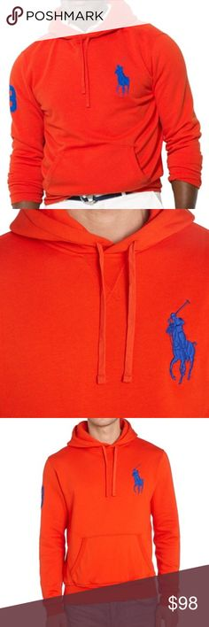 Polo Ralph Lauren Red Big Pony Hooded Sweatshirt Product Description  Polo Ralph Lauren Big pony player fleece hooded sweatshirt Sweat top  Plain  Hooded  Long sleeve  Machine Wash 40C  60% COTTON / 30% POLYESTER / 10% VISCOSE Polo by Ralph Lauren Jackets & Coats Performance Jackets