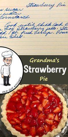 A Tale of two strawberry pies is part of Strawberry pie recipe Grandma's Recipe Box Series For more about grandma's recipes read my post here (Disclosure I work for the J M Smucker Company, wh - Fresh Strawberry Recipes, Fruit Recipes, Sweet Recipes, Cooking Recipes, Grandma's Recipes, Big Boy Strawberry Pie Recipe, Recipes With Fresh Strawberries, Shoneys Strawberry Pie, Easy Strawberry Desserts