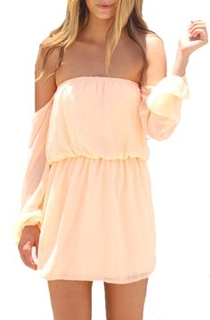 Wisteria Lane Off the Shoulder Dress - Peach - $45.00 | Daily Chic Dresses | International Shipping