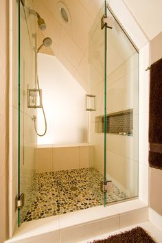 Pebble Shower Floor Bathroom Contemporary with Built in Shelving Glass