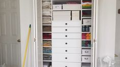 The Ultimate Craft Closet Design and Installation is part of Room Organization Videos - Take a peek inside the ultimate craft closet! This post highlights the design and installation portion as well as showing the before and after Craft Closet Organization, Diy Organisation, Organize Craft Closet, Organized Craft Rooms, Craft Room Closet, Backpack Organization, Organizing Life, Organizing Ideas, Bedroom Closet Design