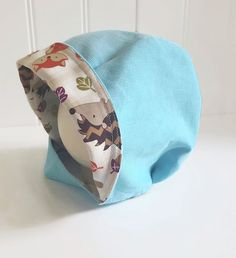 Blue Toddler Bonnet - Corduroy Baby Bonnet - Chin Strap Bonnet with Fun Lining - RTS is size 18-2T