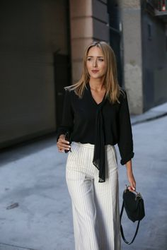 Pinstripe Wide Leg Pants and Tie-Neck Blouse | MEMORANDUM, formerly The Classy Cubicle. Love the wide leg pants and ultra feminine blouse