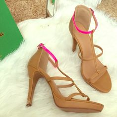 Forever 21 heels Brand new- never worn! Nude heels with a hot pink ankle strap. Cute for summer or a night out! Forever 21 Shoes Heels