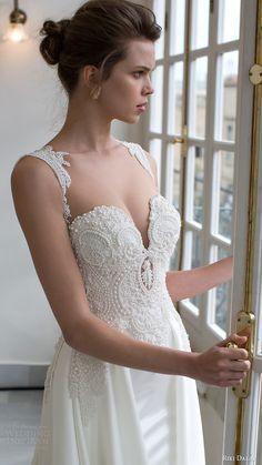 riki dalal bridal 2016 sleeveless sweetheart queen anne neckline beaded bodice a line wedding dress (1803) zv elegant