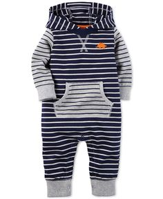 Carter's Baby Boys' Navy Stripe Jumpsuit
