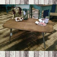 Coffee table with distressed grey legs & stained top by Nick. $69.99 #cherisheverymoment #homedecor #upcycling