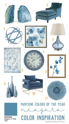 Pantone Niagara is one of Pantone's colors of the year! This earthy blue is soothing and tranquil, yet refreshing and looks modern and fresh in any home.