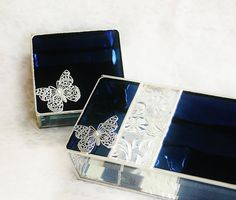 Bridesmaid Gift Set Stained Glass Jewelry Box Indigo Sapphire Blue - Filigree Butterfly Custom Made To Order