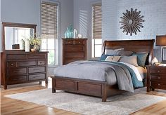 picture of Mango Burnished Walnut 5 Pc King Panel Bedroom  from King Bedroom Sets Furniture