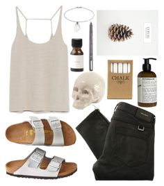 """""""Untitled #172"""" by marinenymphs ❤ liked on Polyvore featuring Le Labo, Jayson Home, Seletti, Birkenstock, Zara, Belstaff and Topshop"""