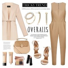 """""""Tricky Trend: Overalls"""" by littlehjewelry ❤ liked on Polyvore featuring Andrea Marques, BCBGMAXAZRIA, Aquazzura, Accessorize and Bobbi Brown Cosmetics"""