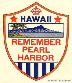 Vintage style Memorial Remember Pearl Harbor HI Hawaii Honolulu Navy retro travel decal sticker state map Honolulu Hawaii, Aloha Hawaii, Blue Hawaii, Hawaii Vacation, Pearl Harbor Day, Pearl Harbor Attack, Remember Pearl Harbor, Pride Of America, Ocean Sounds