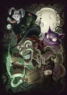 Tribute to Alice in Wonderland Dark Alice In Wonderland, Alice In Wonderland Drawings, Alice In Wonderland Costume, Evil Disney, Dark Disney, Disney Art, Arte Horror, Horror Art, Chesire Cat