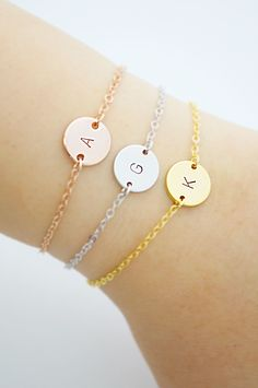 Personalized initial disc bracelets from EarringsNation Rose gold, gold and silver. Pastel weddings soft and sweet monogram bracelet