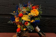 Colorful Rustic Dried Flower Wedding Bouquet, Bouquet, Rustic Wedding Bouquet, Wildflower Bridal Bouquet, Yellow, Green, Blue and Orange on Etsy, $69.00