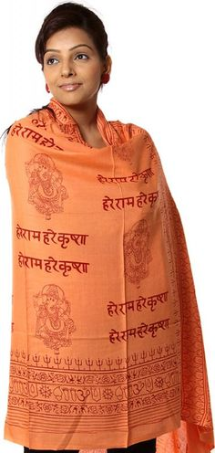 Prayer Shawl of Hare Rama Hare Krishna with Ganesha 6.5 ft x 3.5 ft Pure Cotton Beautiful meditation shawls are lightweight and soft to the touch. Larger sizes make it ideal for a shawl or wrap, and t