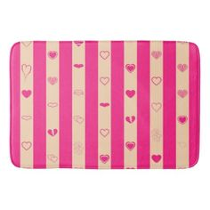Hot Pink Stripes Modern Heart Pattern Bathroom Mat - girly gift gifts ideas cyo diy special unique